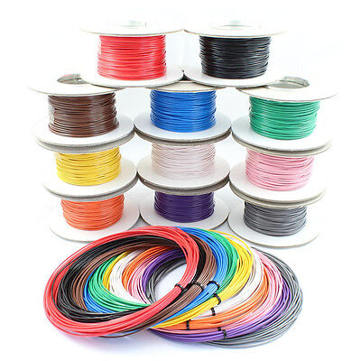 Single Core Stranded Cable 12v 24v Thin Wall Wire All AMP Ratings & 11 Colours