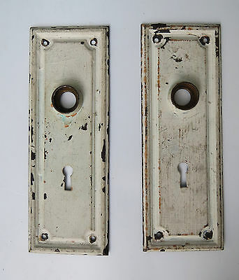 2 Vintage Metal Door Plates white paint shabby chic backplates