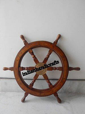 Maritime Ship Wheel Replica Teak Wood Boat Wheel Steering Ship Wheel 24'' Dia