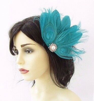 Turquoise Dark Green Rose Gold Feather Fascinator Hair Clip Races 1920s Vtg 3796