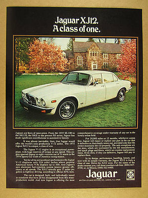 1975 Jaguar XJ12 Sedan XJ V-12 V12 white car photo vintage print Ad