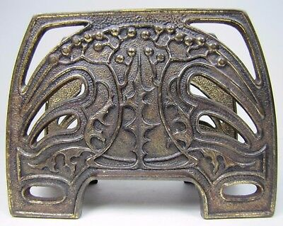 Antique Art Nouveau Decorative Arts Letter Holder Rack Cast Iron Brass Wash