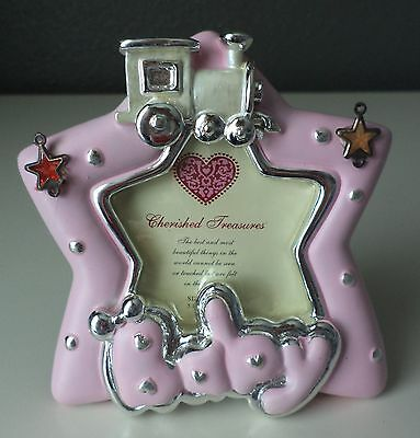 "Silver Spoon Baby Girl Pink Train Star Nursery Baby Shower Photo Frame 2""x2"" NEW"