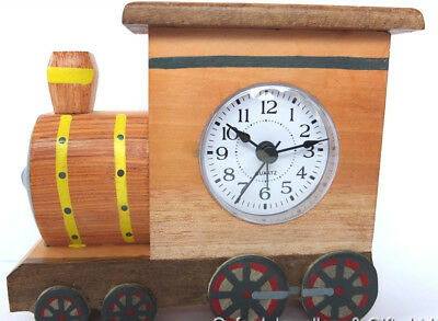 Train Shaped Alarm Clock. Hand Crafted In Wood. Fair Trade. Quartz Movement