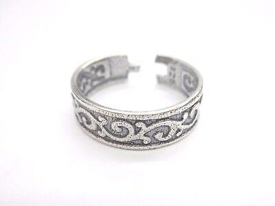 925 Sterling Silver Filigree Scroll Design Oxidized Toe Ring SPRING SUMMER #1524