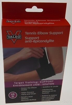 Valeo Neoprene Tennis Elbow Support Large Vented Black Latex Free Terry Washable