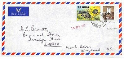 HH270 1972 Zambia Lusaka Airport Cover Devon GB Airmail {samwells-covers]PTS