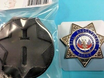 7 Point Star Bail Bond   Badge with Leather Belt Clip Holder Gold Tone