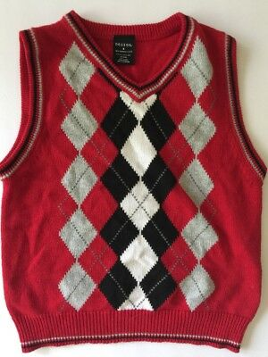 GEORGE Boys Red Sweater Vest Argyle Holiday Size 8