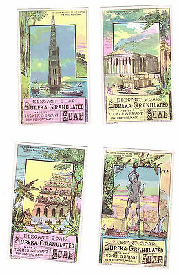 Full Set of 7 Eureka Soap -  Seven Wonders of the World Victorian Trade Cards
