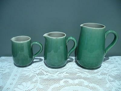 Vintage Lovatt's Pottery England Set Of 3 Graduated Jugs - Green  - Rc
