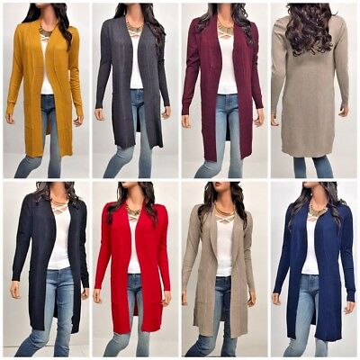 Womens Long Sleeve Open Front  Knit  Cardigan S-XL (USA Seller)