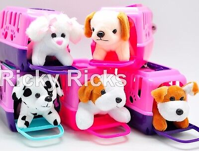 Pet Shop Toy Dog + Carrying Case Kids Cute Gift Puppy Stuffed Animal Plush