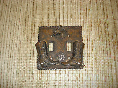 Vintage WESTERN THEME Horse / Cowboy Boots Double Light Switch Cover .