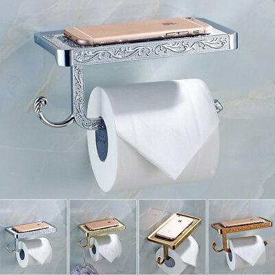 Vintage Toilet Paper Roll Holder Rack Tissue Bathroom Wall Mount Hook with Shelf