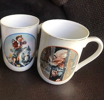 Set Of 2 NORMAN ROCKWELL Fine Porcelain Coffee Mugs Cup Made in Japan for IMM ~