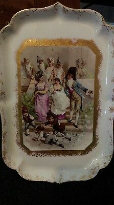 FRENCH LIMOGES  MARKED  lewis straus & sons 1890-1920 COLONIAL HAND PAINTED TRAY