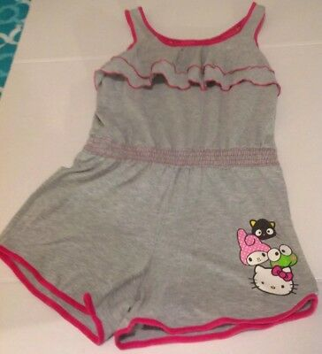 Hello Kitty Grey and Pink Romper Sz XL with Fringe on Top and Elastic Waistband