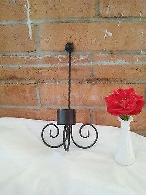 Vintage Black Wrought Iron Wall Hanging Sconce Candle Holder Twisted Metal Swirl