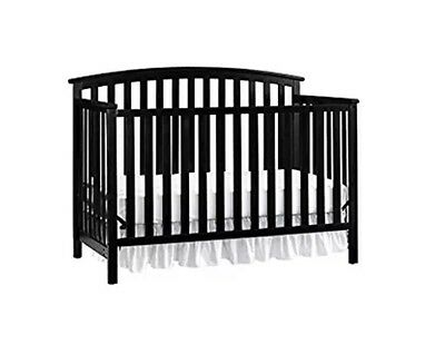 Convertible Crib for Baby Black Toddler Bed Daybed with Headboard Sleeper