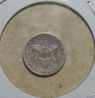 US Coin 3 Cent Silver Rare 1855 Trime 139,000 Only III Three Star Shield Antique