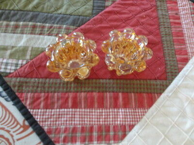 Reims France Two Light Amber 8 sided small glass candle holders