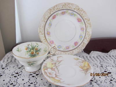Mixed Vintage ''yellow Floral'''  - Cup / Saucer / Plate Trio