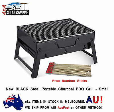 New BLACK Steel Portable Camping Picnic Outdoor Charcoal BBQ Grill