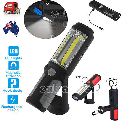 Portable COB LED USB Rechargeable Magnetic Hand Torch Work Light Lamp AU STOCK
