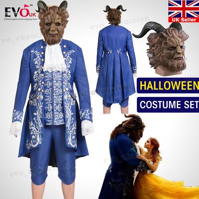 Men's Beauty And The Beast Romantic Costume Cosplay Prince Uniform Mask Set