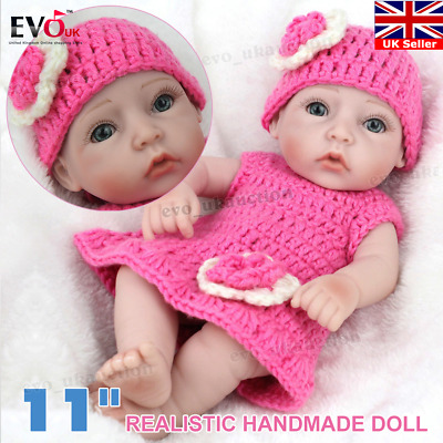 "11"" Full Vinyl Silicone Baby Girl Doll Newborn Real Looking Handmade Gifts UK"