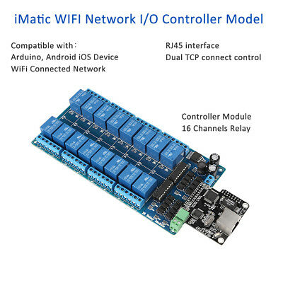 iMatic 16 Channel Relay I/O Controller RJ45 WIFI Dual TCP Fr Arduino Android iOS