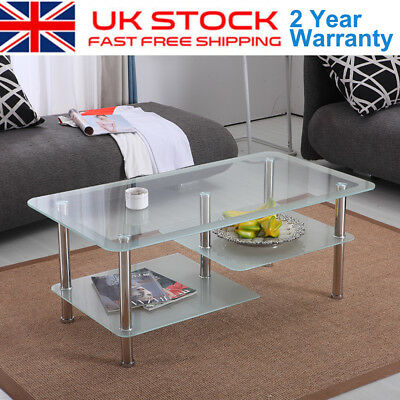 Modern Clear Glass Chrome Living Room Coffee Table with Lower Shelf #ds