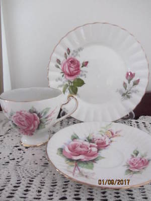 Mixed Vintage ''pink Roses'' - Cup Saucer Plate Trio