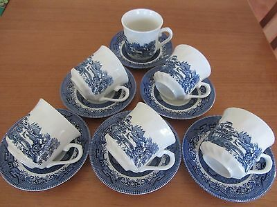 6 X  Mixed Vintage - ''blue Willow'' -  Cups & Saucers