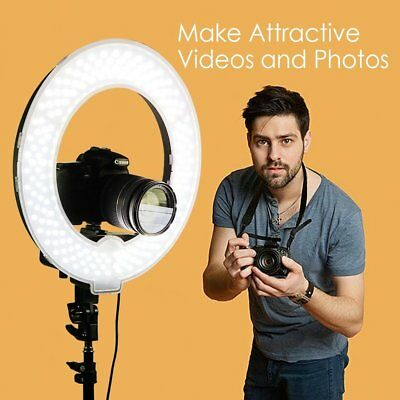 "18"" 240LED Ring Light Dimmable Photo Studio Video Photography Kit+ Carry Bag SW"