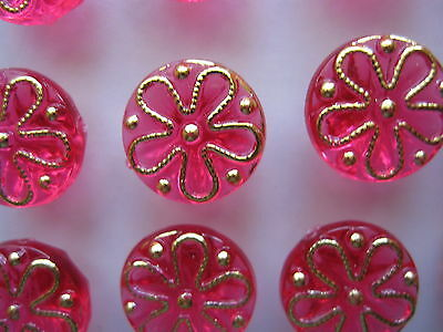 """12  """" DARK  PINK with GOLD Flower design """"  Coloured Buttons...New...1.2cm"""