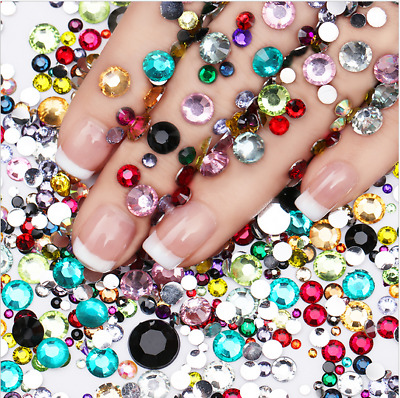 2000x Crystal Flat Back Rhinestones Assorted Size Nail Art Craft Decoration