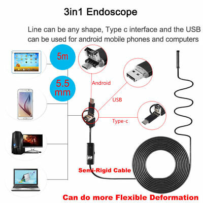 5m Semi Rigid Endoscope 8LED Waterproof Borescope Inspection Camera PC Android