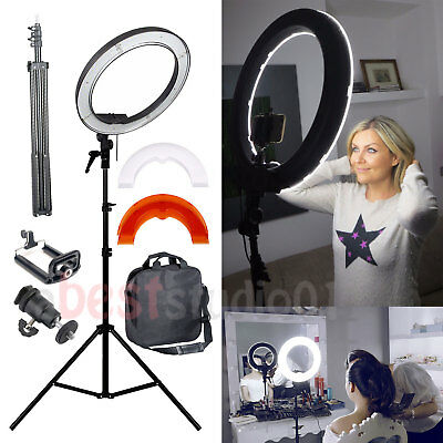 "35W 240PCS 12"" Dimmable Photo Video LED Ring Light Kit Stand Smartphone Adapter"