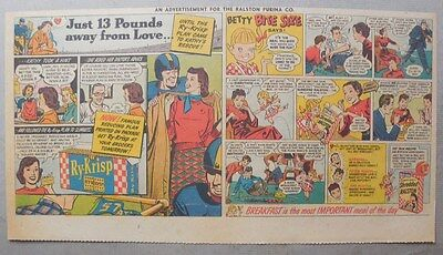 """Ralston Cereal Ad: """"Betty Bite Size"""" from 1940's Size: 7.5 x 15 Inches"""