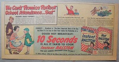 Ralston Cereal Ad: Instant and Hot Ralston from 1950 Size: 7.5 x 15 Inches