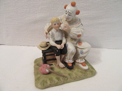 Norman Rockwell Figurine, The Runaway, Bisque Porcelain, Clown and Boy