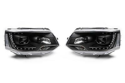VW Transporter T5.1 10-15 Black LED DRL Xenon Look Headlights Headlamps Set Pair