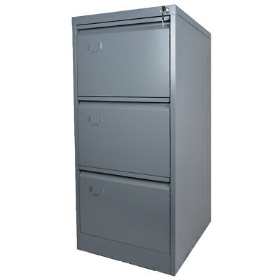Metal 3 Drawer Filing Cabinet Steel Lockable Flat Pack