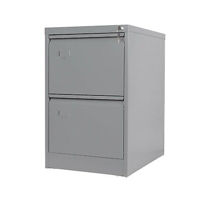 Metal 2 Drawer Filing Cabinet Steel Lockable Heavy Duty Steel Two