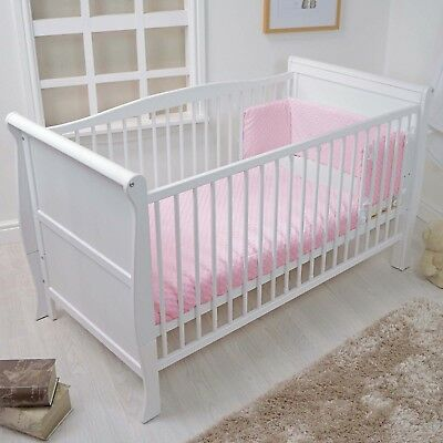 New 4Baby Pink Dimple Cot / Cot Bed Baby Quilt & Bumper 2 Piece Bedding Set
