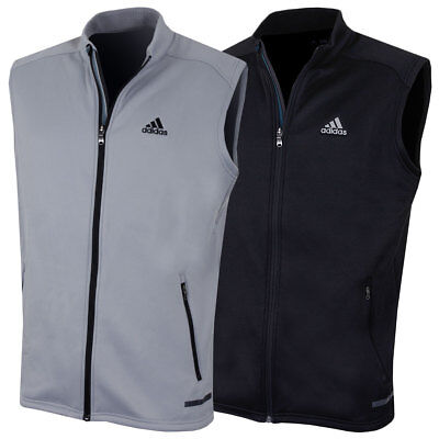 Adidas Golf Mens Full Zip Crested Climaheat Insluated Fleece Gilet Vest