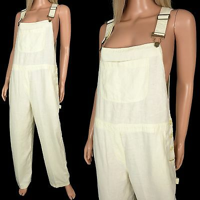 Vintage 90s BIB OVERALLS Carpenter Pants Pale Yellow Cotton Urban Loose Free Sz
