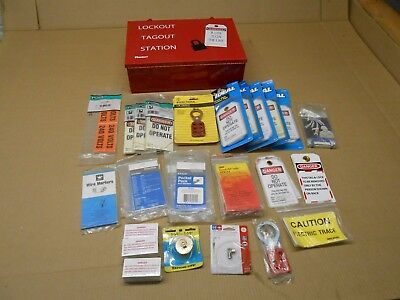 1 New Panduit Lockout Tagout Station With Huge Lot Of Tags